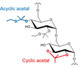 Acetalated dextran - Cyclic and acyclic acetals on acetalated dextran which degrades to dextran, acetone, and ethanol.