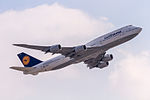 D-ABYC Lufthansa Boeing 747-830 departing via Rwy25C to Washington (KIAD) @ Frankfurt (EDDF) - 08.04.2015 (16488165263).jpg