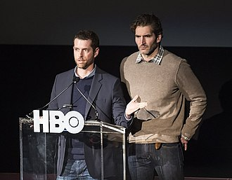 The Door (Game of Thrones) - A Song of Ice and Fire author George R. R. Martin (left) presented Hodor's origin story to David Benioff and D. B. Weiss (right), creators of the television adaptation.