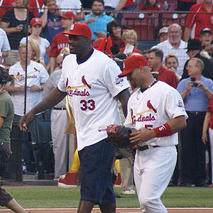Shaquille O'Neal (left) and Albert Pujols