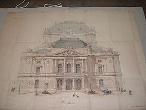 Fellner & Helmer - Original design of the Rijeka theatre's west façade (1882)
