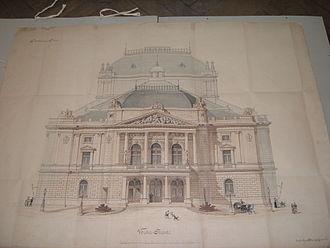 Fellner & Helmer - Original design of the Rijeka theatre's west façade (1882)