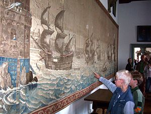 Cornelis Claesz van Wieringen - Same subject designed by van Wieringen again as a tapestry in 1629. It is the largest tapestry made in the 17th century and has charmed Haarlem children for centuries.