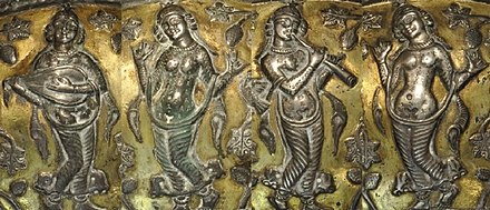 Dancers and musical instrument players depicted on a Sasanian silver bowl from the 5th-7th century AD. Dancers and musicians on a Sasanian bowl.jpg