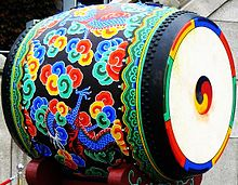 Large Drum With Dancheong Decorative Painting The Contemporary Culture Of South Korea