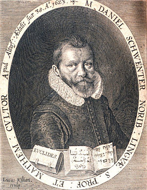 Daniel Schwenter - A portrait of Daniel Schwenter from Geometriae practicae novae et auctae tractatus
