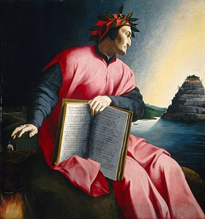 Dante gazes at Mount Purgatory in an allegoric...