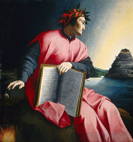 Dante gazes at Mount Purgatory in an allegorical portrait by Agnolo Bronzino, painted c. 1530 Dante03.jpg