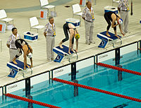 Dara Torres, Cate Campbell, Francesca Halsall ready to start, 2008 Olympics.jpg