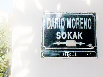 "Avrasya Anı Evi - Name sign of ""Darío Moreno Street"" in Izmir, Turkey."
