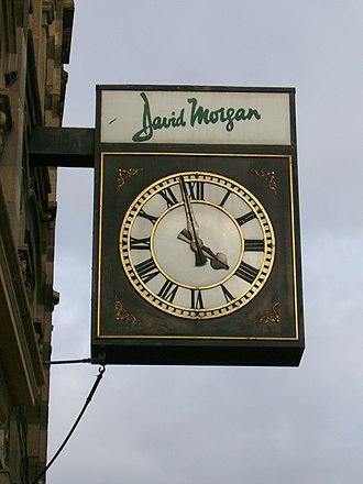 David Morgan (department store) - Image: David Morgan clock 001