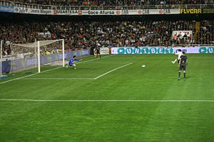 David Villa converting a penalty against Sevilla