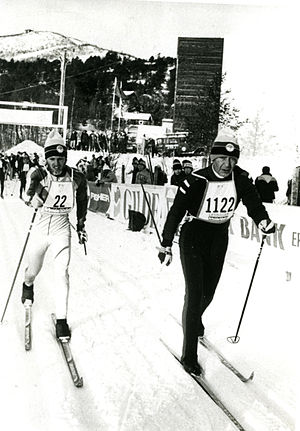 Australia at the 1980 Winter Paralympics - Peter Rickards with his guide at the 1980 Geilo Paralympic Winter Games