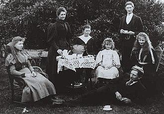 Lancelot de Mole - The de Mole family at tea, c.1896s: left to right: Florence, Mrs. de Mole, Clive, Gladys, Lance, Winifred, and Mr. de Mole, foreground.