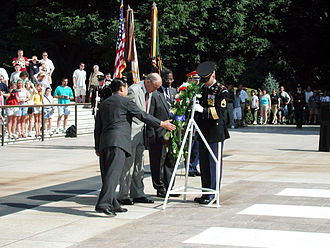 Julius W. Becton Jr. - The South Korean ambassador to the United States Yang Sung-chul, Secretary of the Army Thomas E. White, and Becton at a July 2001 wreath-laying ceremony for African-American veterans of the Korean War.
