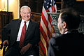 Defense.gov News Photo 110322-D-XH843-018 - Secretary of Defense Robert M. Gates conducts an interview with Sergei Brilyov anchorman of Vesti V Subbotu News on Saturday TV program in.jpg