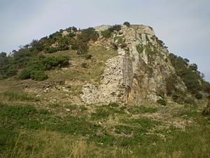 Deganwy Castle - The lower of the two hills, part of a wall can be seen