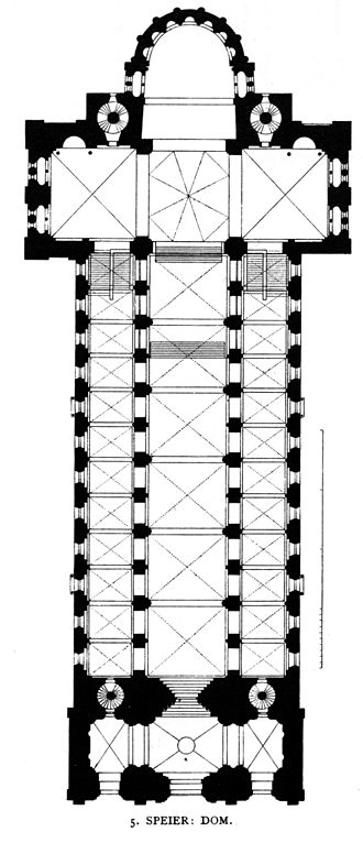 "Speyer Cathedral - Plan in the 19th century revealing the ""double-bay"" system of vaulting"