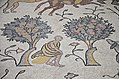 Detail of the 6th century AD mosaic in the Diakonikon Baptistry of the Moses Memorial Church depicting a hunting and herding scene interspersed with various animals, Mount Nebo, Jordan (40633604162).jpg