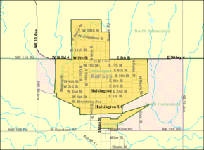 Detailed map of Hoisington, Kansas.png