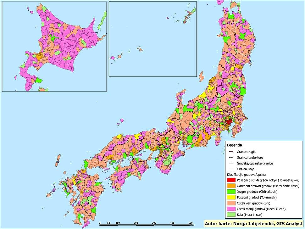 Detaljna klasifikacija naselja-općina u Japanu
