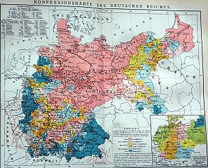 The religious situation in central Europe about 1900. Red and pink areas are predominantly Protestant, blue areas predominantly Catholic. The distribution within the borders of modern-day Germany remains roughly the same today.