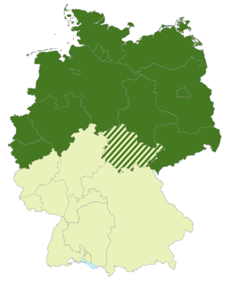 Regionalliga Nord - Map of Germany: Position of the Regionalliga Nord (2000-2008) highlighted