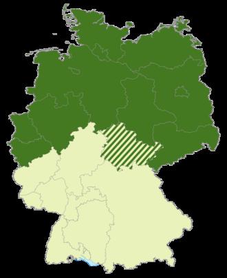 Regionalliga Nord - Map of Germany: Position of the Regionalliga Nord (2000-2008) highlighted