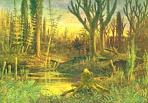 Devonian - The Devonian period marks the beginning of extensive land colonization by plants. With large land-dwelling herbivores not yet present, large forests grew and shaped the landscape.