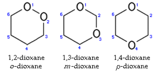 1,2-Dioxane - The three isomers of dioxane.Small blue numbers show numbering of atoms in rings.
