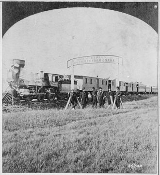 History of the Union Pacific Railroad - Image: Directors of the Union Pacific Railroad on the 100th meridian approximately 250 miles west of Omaha, Nebr. Terr. The tra NARA 530892
