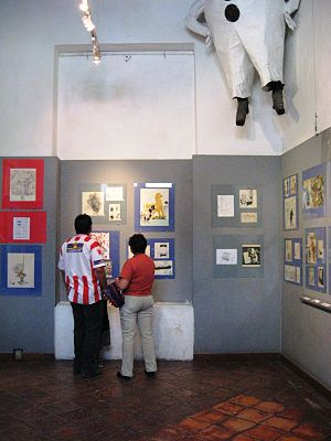 Caricature Museum, Mexico City - Display in the permanent collection hall