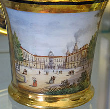 La villa di Doccia con le fucine in attività, da una tazzina in porcellana Ginori della prima metà del XIX secolo