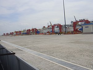 Haikou Port New Seaport - Image: Docks at Haikou Port New Seaport 01