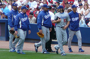 Jonathan Broxton - Broxton (center) with fellow Dodgers pitchers Esteban Loaiza, Scott Proctor, Joe Beimel and Takashi Saito in 2008.