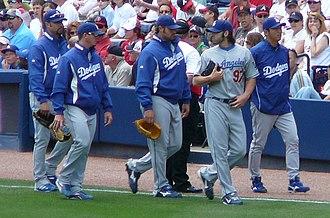 Esteban Loaiza - Loaiza (far left) with fellow Dodgers pitchers Scott Proctor, Jonathan Broxton, Joe Beimel and Takashi Saito in 2008.