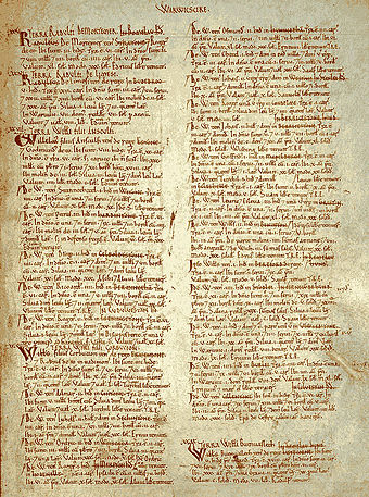 Page from the Warwickshire Domesday survey Domesday book--w.jpg
