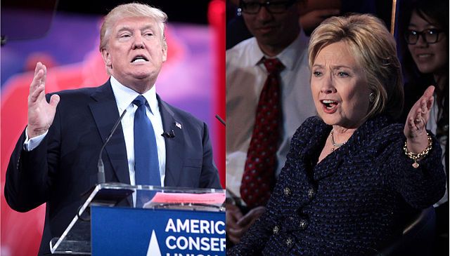 From commons.wikimedia.org: Donald Trump and Hillary Clinton during presidential election 2016 {MID-237173}
