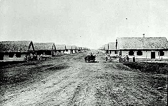 Doukhobors - Vosnesenia ('Ascension') village, NE of Arran, Saskatchewan (North Colony). A typical one-street village, modeled on those back in the Old World.