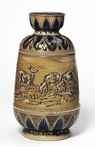 Royal Doulton - Vase, 1874, Doulton Ceramic Factory V&A Museum no. 352-1874. decorated by Hannah Barlow