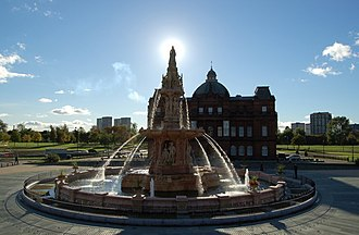 Glasgow Green - The Doulton Fountain at the People's Palace, Glasgow Green.