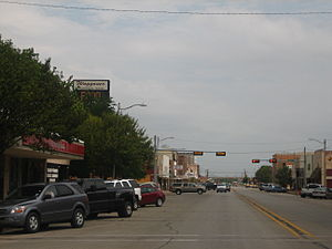 Vernon, Texas - A glimpse of downtown Vernon, with Waggoner National Bank in the left background