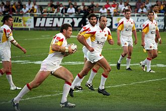 Catalans Dragons - The Catalans Dragons team playing at Gilbert Brutus in 2009