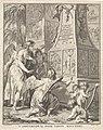 Drie engelen bewonderen een obelisk met scènes uit het Nieuwe Testament Titelpagina voor L. ten Kate, Het leven van onzen Heiland (..), 1732, RP-P-1910-3601.jpg