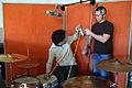 Drum mic setting in progress, Guy and Florian, LowSwing studio, Berlin, 2011-01-22 12 17 47.jpg