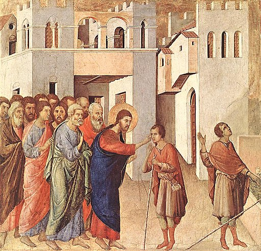 """The Healing of the Man born Blind"" by Duccio"