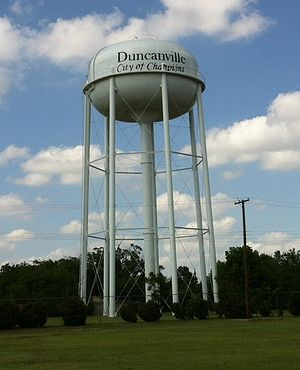 Duncanville, Texas - Water tower in the Fairmeadows neighborhood of Duncanville, depicting the city slogan.