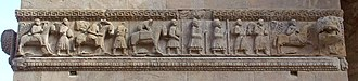 Via Francigena - Pilgrims to Rome carved in a relief, Fidenza Cathedral (late twelfth century)