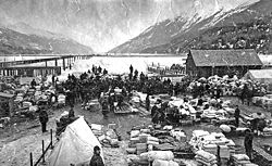The Dyea waterfront during the Klondike Gold Rush.