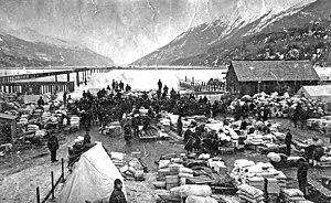 Dyea, Alaska - The Dyea waterfront during the Klondike Gold Rush.